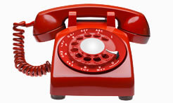 image of red rotary telephone